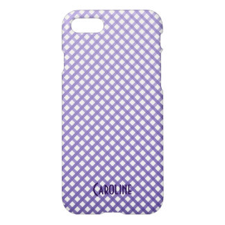 Purple Ombre Gingham Pattern Personalized Name iPhone 8/7 Case