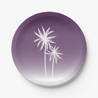 Purple Ombré Palm Trees Beach Paper Plate