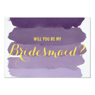 "Purple ombre watercolor Will you be my Bridesmaid 3.5"" X 5"" Invitation Card"