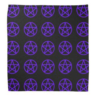 Purple on Black Multi Pentacle Bandana