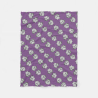 Purple on Grey Rose Bud by Delynn Fleece Blanket