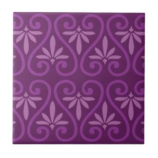 Purple on Purple Floral Pattern Ceramic Tile