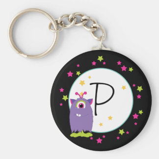 Purple One Eyed Monster With Green Feet Keychains