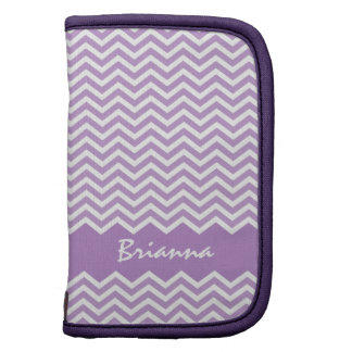 Purple or lavender chevron zigzag pattern folio organizers