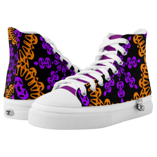Purple Orange Abstract High Top Tennis Shoes Printed Shoes