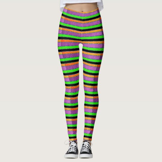 Purple Orange and Green Striped Leggings