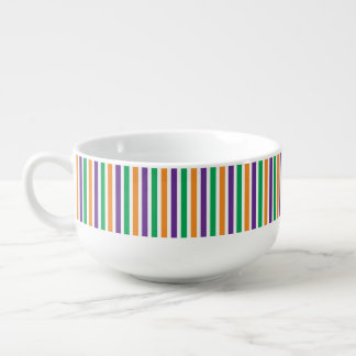 Purple, Orange And Green Striped Pattern Soup Mug