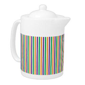 Purple, Orange And Green Striped Pattern Teapot