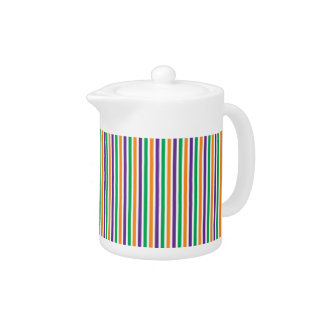Purple, Orange And Green Striped Pattern Teapot