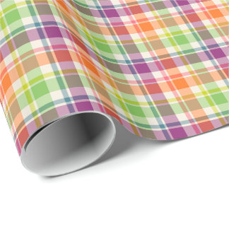 Purple, Orange and Lime Fashion Plaid Gift Wrap Wrapping Paper