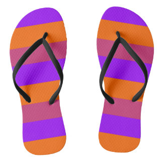 Purple, Orange and Pink  Stripes Flip Flops