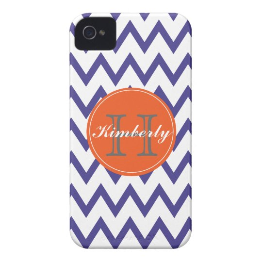 Purple & Orange Chevron Monogrammed iPhone 4/4s iPhone 4 Covers
