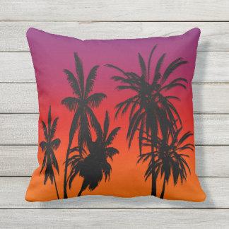 Purple Orange Fade Black Palm Trees Tahiti Sunset Outdoor Cushion