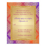 Purple Orange FAUX Gold Glitter, Damask RSVP Card Personalised Invites