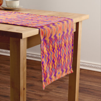 Purple Orange Flames Abstract Medium Table Runner