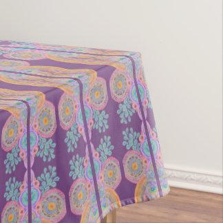 purple orange flower circles tablecloth