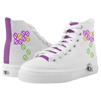 Purple Orange Flower Floral Blossom High Top Shoes Printed Shoes