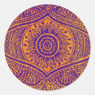 Purple & Orange Geometric Round Sticker