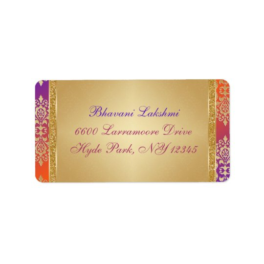 Purple Orange Gold Damask Return Address Label 2
