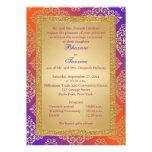 Purple, Orange, Gold FAUX Glitter Wedding Invite