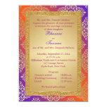Purple, Orange, Gold FAUX Glitter Wedding Invite 13 Cm X 18 Cm Invitation Card