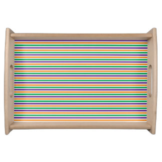 Purple Orange Green Striped Pattern Serving Tray