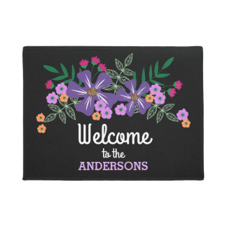 Purple & Orange Hand Drawn Flowers, Personalized Doormat