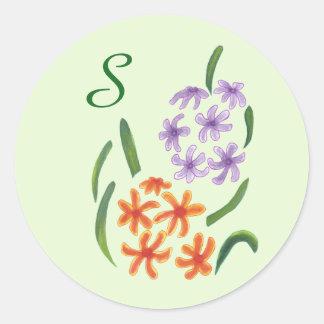 Purple Orange Hyacinth Flowers Monogram Stickers