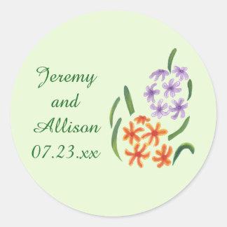 Purple Orange Hyacinth Flowers Save Date Stickers