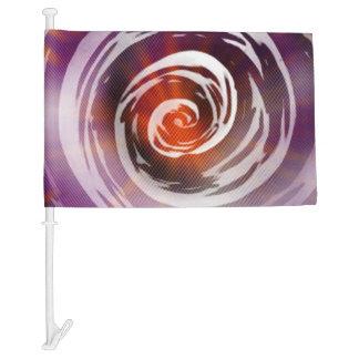 Purple & Orange Hypnotic Swirl Art Car Flag