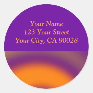 Purple orange swirl round sticker