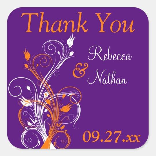 """Purple Orange White Floral 1.5"""" Wedding Sticker"""