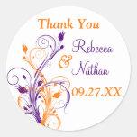 """Purple Orange White Floral 1.5"""" Wedding Sticker 6"""