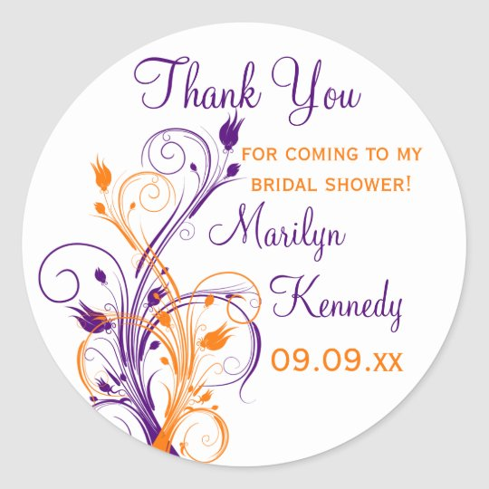 Purple Orange White Floral Bridal Shower Sticker
