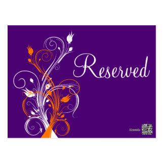 "Purple Orange White Floral ""Reserved"" Postcard"