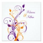 Purple Orange White Floral Sq. Wedding Invitation