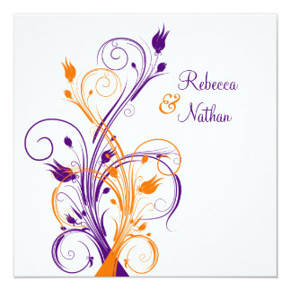 Purple Orange White Floral Sq. Wedding Invitation
