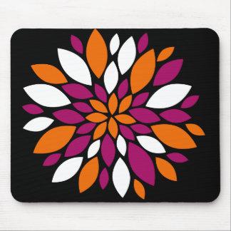 Purple Orange White Flower Petal Art on Black Mouse Pad
