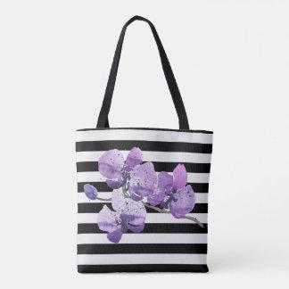 Purple Orchid Black and White Stripe Tote Bag