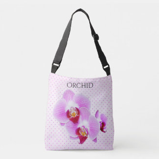 Purple Orchid Floral Photography and Dots Crossbody Bag