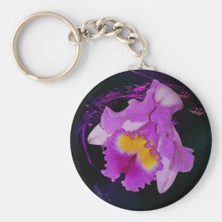 Purple Orchid flower Keychain