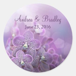 Purple Orchid Flower Personalized Wedding Round Sticker