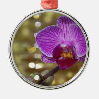 Purple Orchid Flower Sparkly Christmas Ornament