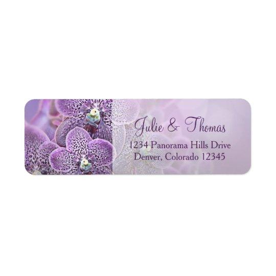 Purple Orchid Flower Wedding Return Address