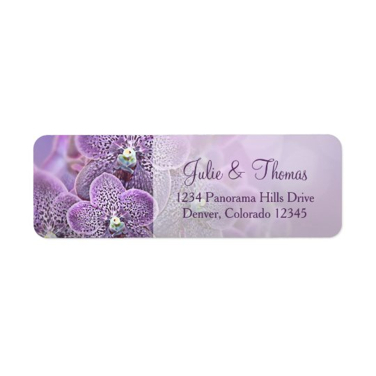 Purple Orchid Flower Wedding Return Address Return Address Label