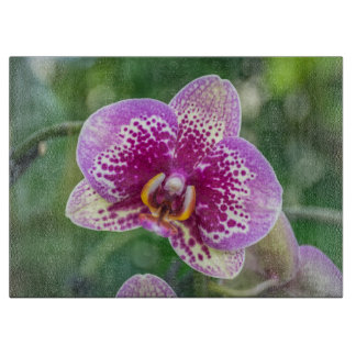 Purple orchid glass cutting board
