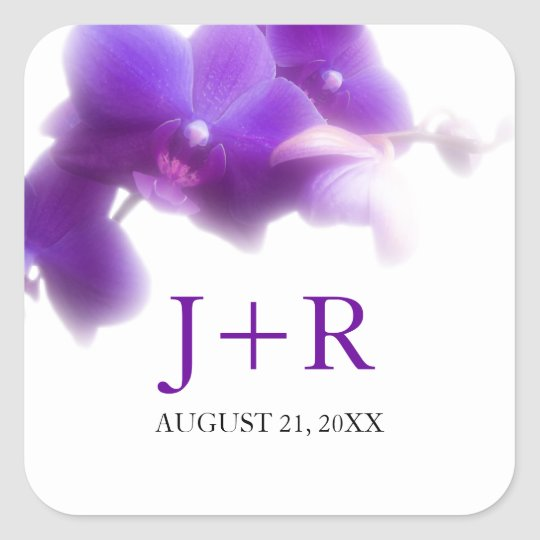 Purple Orchid Monogrammed wedding sticker