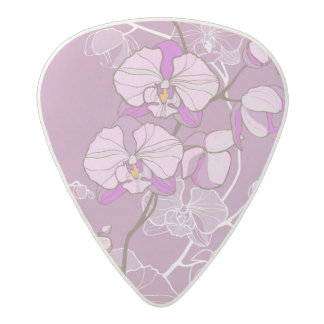 Purple Orchid Pattern Acetal Guitar Pick