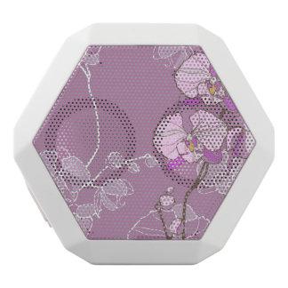 Purple Orchid Pattern White Boombot Rex Bluetooth Speaker