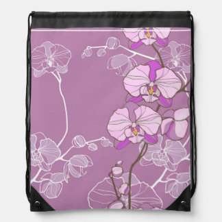 Purple Orchid Pattern Drawstring Bag